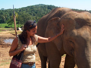 Sharon with Elelphant